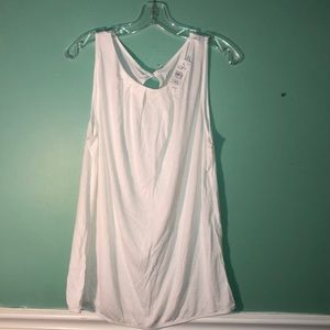 White cinched neck tank